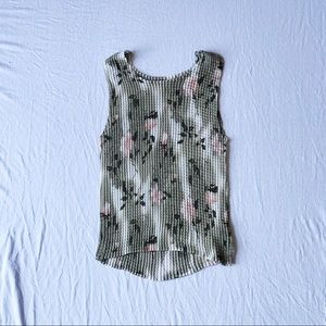 Muted Green and Pastel Pink Popcorn Tank